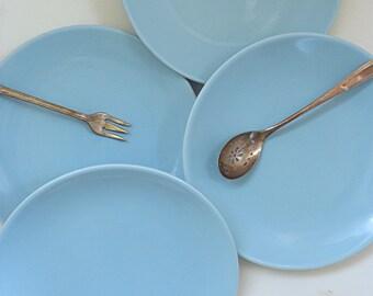 Vintage Salad Plates, 1950s Plate Set, Four Turquoise Dessert Set