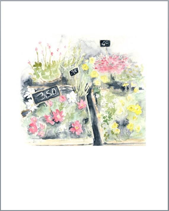 paris flower market watercolor giclee print - 8 x 10 inch print