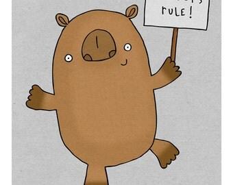 Wombats Rule - Illustration Print