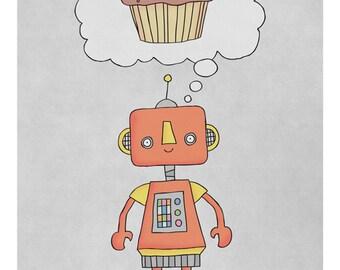 Robots Love Cake - Illustration Print