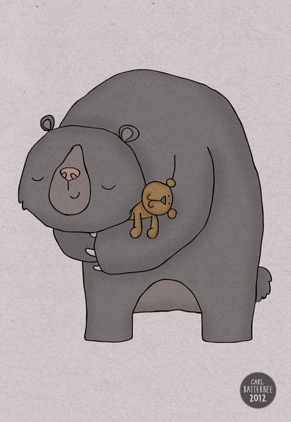 Huggy Bear - Pen and Ink Illustration - 5 x 7 Print