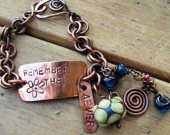 Personalized Antiqued Copper Bracelet ,  Custom,  Memorial , Keepsake