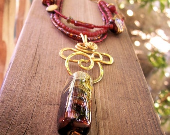 """Memory Lampwork Pet Cremation Bead Necklace in Brass,  Sample Photo, Price is Approx  """"Spices of the Orient""""  Lampwork Glass"""