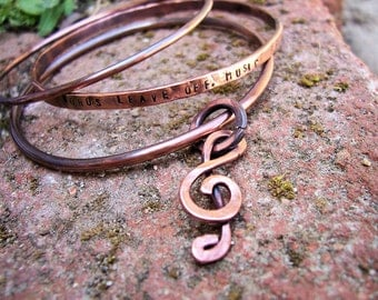 "Copper Personalized Quote Bangles set of 3 with charm ""Memories in Music"" Keepsake"