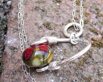 """Cremains pet Urn Bead Necklace """" Eliza""""  Lampwork Glass and Argentium Sterling Silver , Memorial, Made to order"""