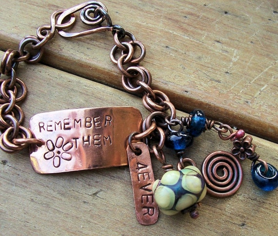 Personalized Antiqued Copper Bracelet ,  Custom,  Memorial , Keepsake