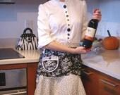 SALE! Fun and Flirty Half Apron in Black & White Cotton Print, Hostess Apron