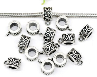14 Silver Tone HEART Bail Beads. Fits European Style Bracelets and Necklace Chains 12x9mm  . fba0025