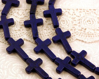 15.5 Inch Strand Stone Cross Beads . ROYAL BLUE . Sideways Cross . 30mm x 20mm HOW0178