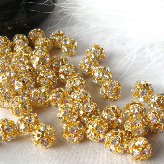 10 pc Gold Plated Crystal Rhinestone Disco Ball Spacer Beads  8mm Fireball  bme0066