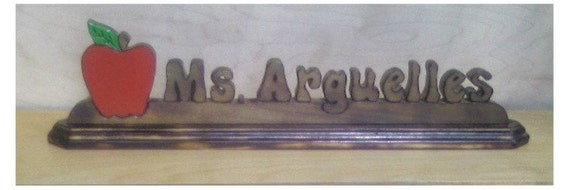 Teacher's Gift Personalized Apple Nameplate with Torched Wood