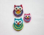 Colorful Owls Applique - 2 sizes - PDF Crochet Pattern - Instant Download - Embellishment Accessories Ornament Scrapbooking Motif Animal