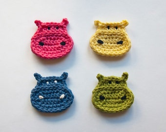 Instant Download - PDF Crochet Pattern - Hippo Applique (Quick and Easy) - Text instructions and SYMBOL CHART instructions