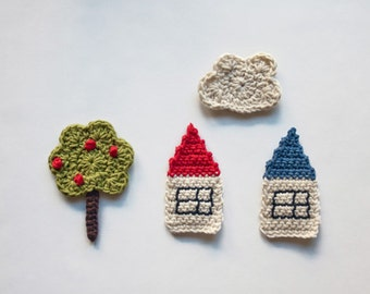 Instant Download - PDF Crochet Pattern - The Tree, the Houses and the Cloud Applique - Text instructions and SYMBOL CHART instructions