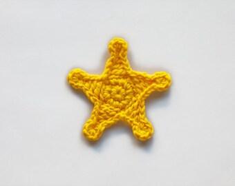 Sheriff Star Applique - PDF Crochet Pattern - Instant Download - Embellishment Accessories Ornament Scrapbooking Motif