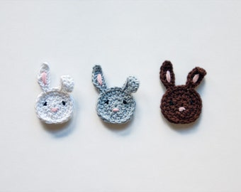 Instant Download - PDF Crochet Pattern - Bunny Applique (Quick and Easy) - Text instructions and SYMBOL CHART instructions