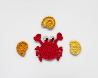 Instant Download - PDF Crochet Pattern - Crab & Conch Applique - Text instructions and SYMBOL CHART instructions