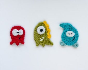 Instant Download - PDF Crochet Pattern - Monsters Applique - Text instructions and  SYMBOL CHART instructions
