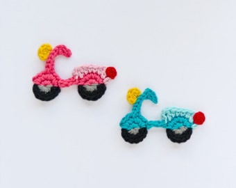 Instant Download - PDF Crochet Pattern - Motorbike  Applique - Text instructions and SYMBOL CHART instructions