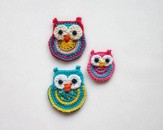 Colorful Owls Applique - 2 sizes - PDF Crochet Pattern - Instant Download - Embellishment Accessories Ornament Scrapbooking Motif Animal