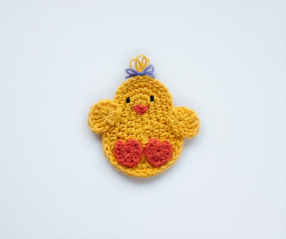 Instant Download - PDF Crochet Pattern - Chicken Applique - Text instructions and SYMBOL CHART instructions