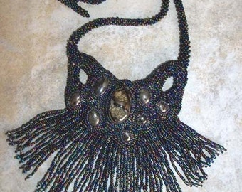 Black Magic Pyritized amolite bead embroidery  necklace