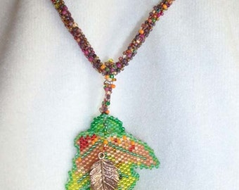 falling leaves beaded necklace