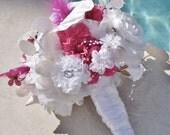 Shell Bridal Bouquet, Alternative Bouquet, Pink and White Destination Wedding Bouquet, Shell and Flower Beach Wedding Bouquet