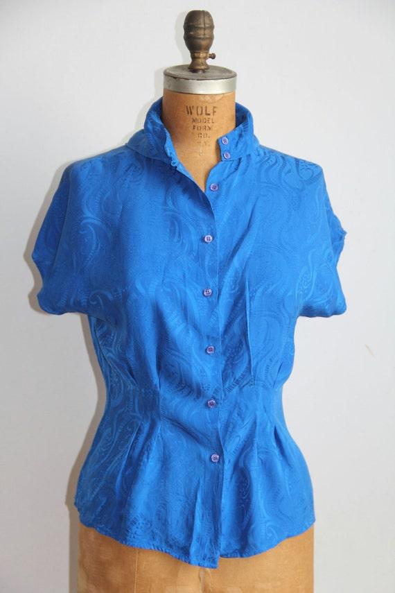 Blue Silk Brocade Blouse - S