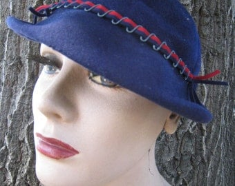Vintage 1930s Blue Wool Felt Playtopper Cap Hat with Metal and Ribbon Accents