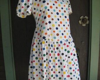 SALE Sale SALE Vintage 1980s Polka Dot Dress with Dropped Waist
