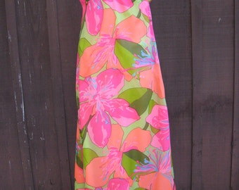 Gorgeous 1960s Malia of Honolulu Hawaiian Vibrant Exotic Flower Print Maxi Dress Sherbet Colors by Malia Honolulu