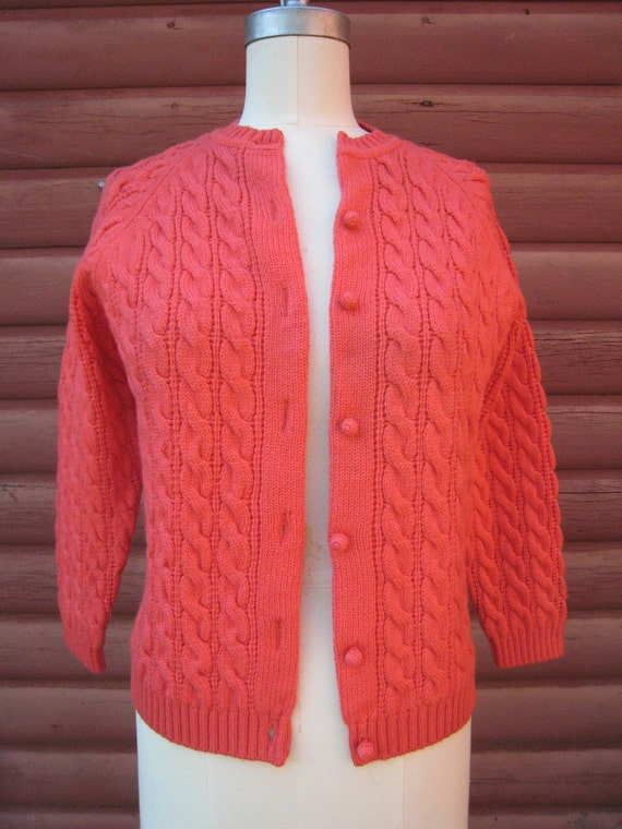 Vintage Hand Loomed Coral Sweater for I. Magnin