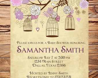 Baby Shower Invitation, Birdcages Baby Shower Invitation, Boy, Girl, Vintage Baby Shower Invite, Pink, Purple, Brown, 1063