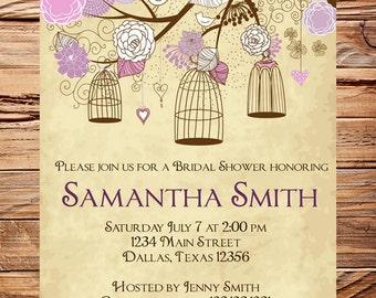 Vintage Birdcage Invitation,Purple Bridal Shower Invitation,Wedding Shower,Birds, Birdcages, Brown, Pink, Purple, 5260