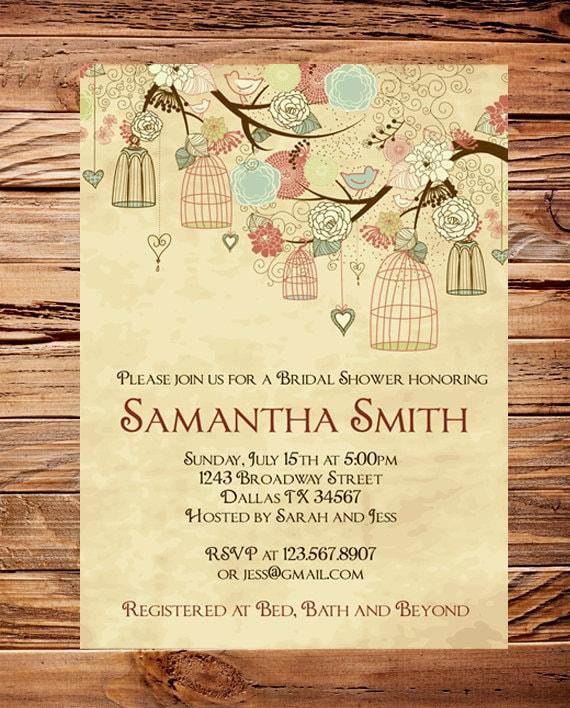 Vintage Birdcage Invitation,Vintage Bridal Shower Invitation,Wedding Shower,Birds, Birdcages, Brown, Purple, 5263