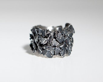 Fairmined Oxidized Silver Sculptural Ring,Black Fair trade Silver,Contemporary Jewellery,Band ring,Certified Fairmined,Ecological Silver