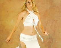 Alexa Layering Skirt Top Two in One with Handprinting / Custom Color, Convertible, Reversible /  Bellydance, Dance, Salsa, Fairy Costume