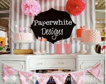 5 Tissue paper pom poms // tissue poms // dessert table backdrop // girl baby shower decorations / vintage wedding decorations / party decor