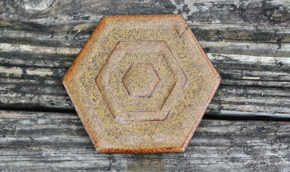 Vintage Single Brown Geometric Ceramic Coaster, Ring Display, Candle Holder, Rustic Home Decor