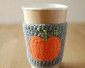 Pumpkin Coffee Cozy, Coffee Cup Cozy, Pumpkin coffee sleeve by The Cozy Project Holiday Cup Sleeve
