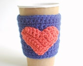 Crochet Heart Coffee Sleeve, Reusable Coffee Cup Cozy, Blue with Orange heart