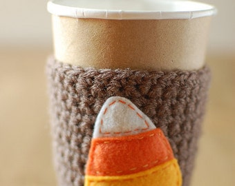 Autumn Candy Corn Coffee Cozy, Coffee sleeve by The Cozy Project