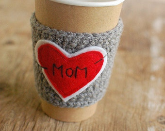 Mom Coffee Cozy, Heart Crochet Coffee Sleeve, Reusable Cup Cozy, Coffee Cozy by The Cozy Project