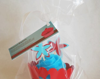 Cupcake Soap Wrapper and Topper Gift or Favor Set