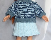 18 Inch Doll Blue Textured Sweater and Skirt Set - Girl Doll Clothes - Sweater Matches Child Sweater - Item 3046