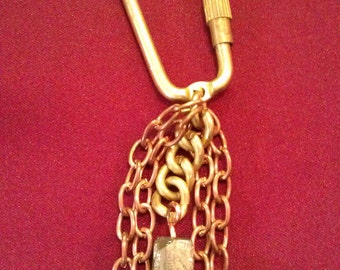 Brass, Copper and Iron Pyrite Carabeener Key Ring