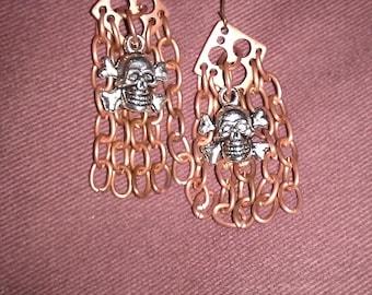 Copper Jolly Roger Dangle Earrings