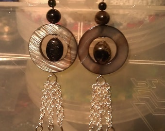 Tourmaline and Shell Earrings
