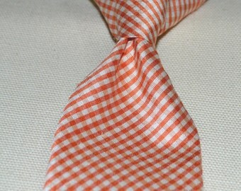 Boys silk clip tie, 100% silk necktie, orange gingham, classic colors, handmade, USA